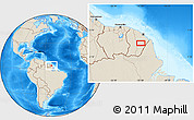"""Shaded Relief Location Map of the area around 3°51'2""""N,52°37'30""""W"""