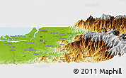Physical Panoramic Map of Machala