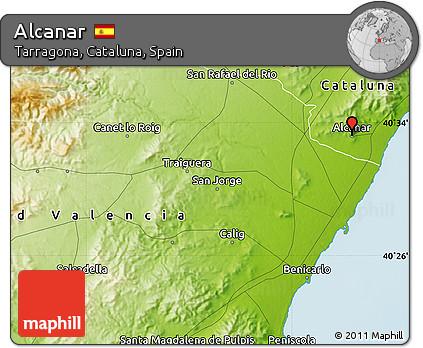 Alcanar Spain Map.Free Physical Map Of Alcanar