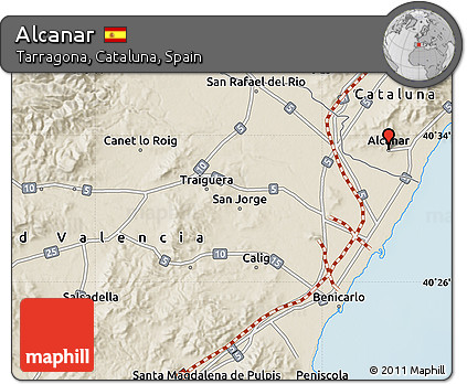 Alcanar Spain Map.Free Shaded Relief Map Of Alcanar