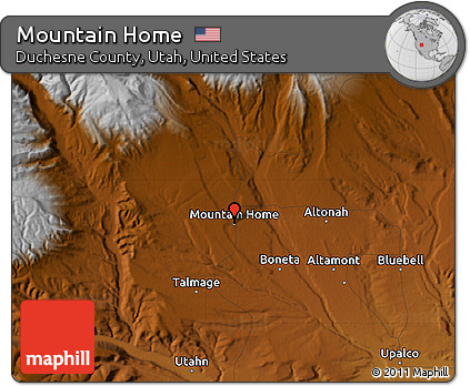 Free Physical Map of Mountain Home
