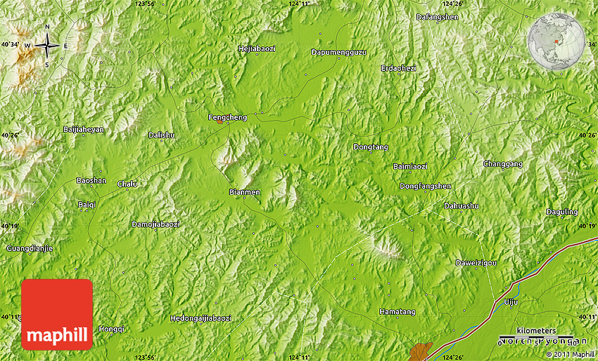 Physical Map Of Fengcheng - Fengcheng map