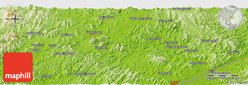 Physical Panoramic Map Of Fengcheng - Fengcheng map