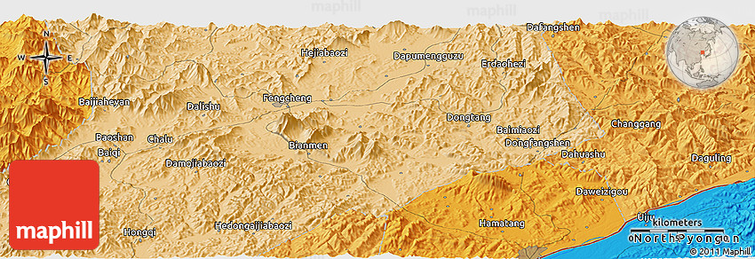 Political Panoramic Map Of Fengcheng - Fengcheng map
