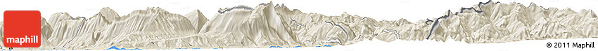 "Shaded Relief Horizon Map of the Area around 40° 23' 48"" N, 20° 28' 30"" E"