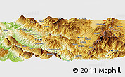 Physical Panoramic Map of Berzanaj