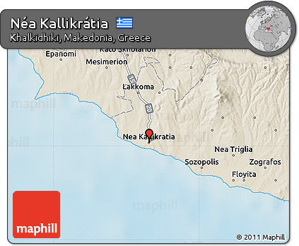 Free Shaded Relief Map Of Nea Kallikratia