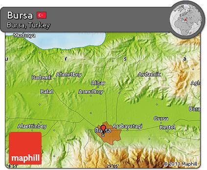 Free Physical Map of Bursa