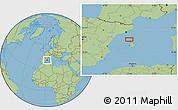 "Savanna Style Location Map of the area around 40°23'48""N,2°37'30""E"