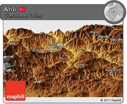 Free Physical Panoramic Map of Arl