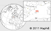 """Blank Location Map of the area around 40°23'48""""N,3°28'30""""E"""