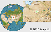 """Satellite Location Map of the area around 40°23'48""""N,63°49'30""""E"""