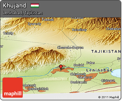 Free Physical Panoramic Map of Khujand