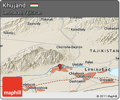 Free Shaded Relief Panoramic Map of Khujand