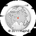 Outline Map of Osh, rectangular outline
