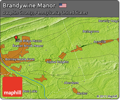 Free Physical D Map Of Brandywine Manor - Dauphin county on us map