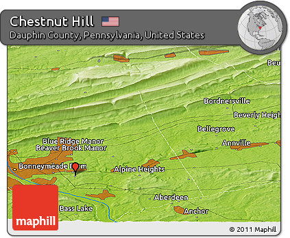 Free Physical Panoramic Map Of Chestnut Hill - Dauphin county on us map