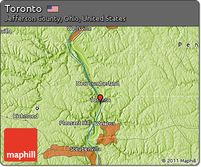 Free Physical Map Of Toronto - Ohio physical map