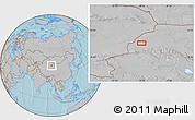 Gray Location Map of Mengjiaqiao, hill shading