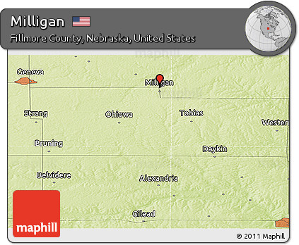 Free Physical Panoramic Map of Milligan