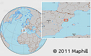 Gray Location Map of Amposta