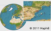 Satellite Location Map of Amposta
