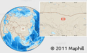 Shaded Relief Location Map of Hol Hudag