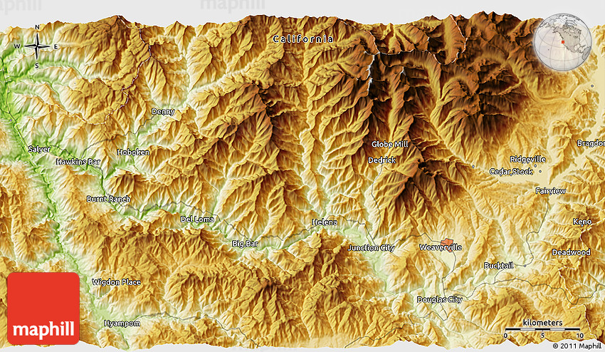 Physical 3D Map of Trinity Alps