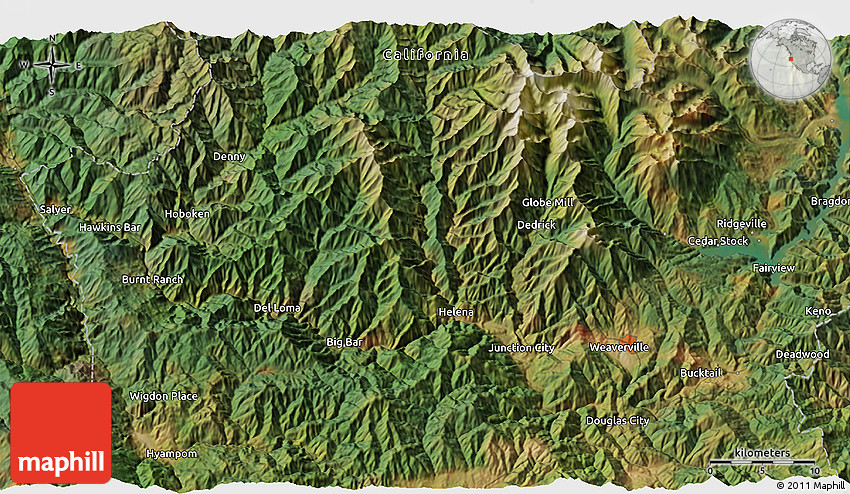 Satellite 3D Map of Trinity Alps