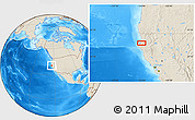 """Shaded Relief Location Map of the area around 40°50'23""""N,124°1'30""""W"""