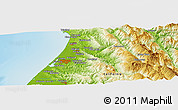 """Physical Panoramic Map of the area around 40°50'23""""N,124°1'30""""W"""