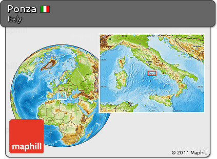 Free Physical Location Map Of Ponza