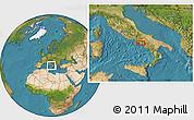 Satellite Location Map of Naples
