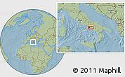 Savanna Style Location Map of Naples, hill shading