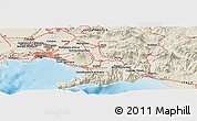 Shaded Relief Panoramic Map of Naples