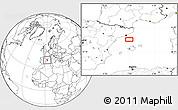 """Blank Location Map of the area around 40°50'23""""N,2°37'30""""E"""