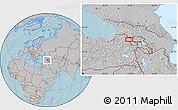 Gray Location Map of Kars, hill shading