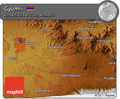 Free Physical D Map Of Gyumri - Gyumri map
