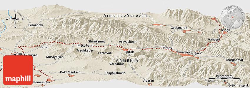 Shaded Relief Panoramic Map Of Gyumri - Gyumri map