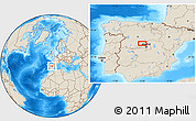 """Shaded Relief Location Map of the area around 40°50'23""""N,4°10'30""""W"""