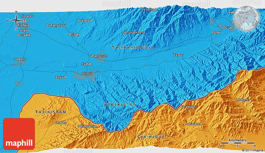 Political D Map Of Olmaliq - Olmaliq map