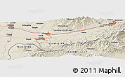 Shaded Relief Panoramic Map of Olmaliq