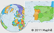 Political Location Map of Olmedo de Camaces