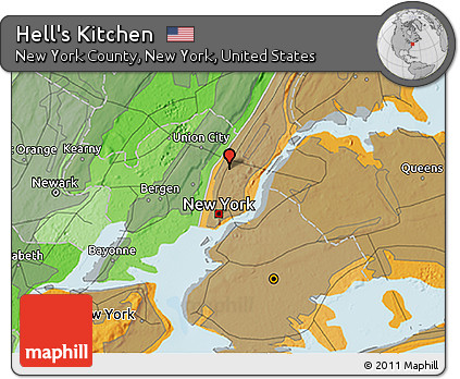 Hells Kitchen New York Map.Free Political 3d Map Of Hell S Kitchen