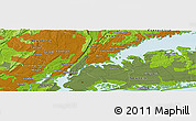 """Physical Panoramic Map of the area around 40°50'23""""N,73°52'30""""W"""