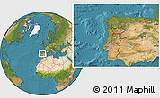 """Satellite Location Map of the area around 40°50'23""""N,7°34'30""""W"""