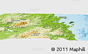 """Physical Panoramic Map of the area around 40°50'23""""N,9°25'30""""E"""