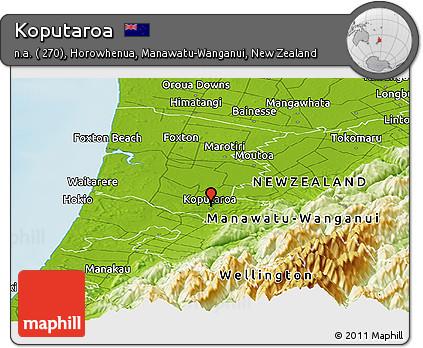 Wanganui New Zealand Map.Free Physical Panoramic Map Of Koputaroa