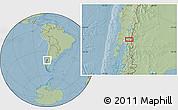 Savanna Style Location Map of Puerto Rico, hill shading