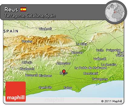 Map Of Spain Reus.Free Physical Panoramic Map Of Reus